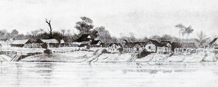 古晋老巴刹1839年的风景画像。