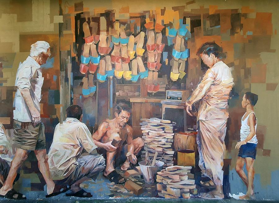 壁画 - 木屐店